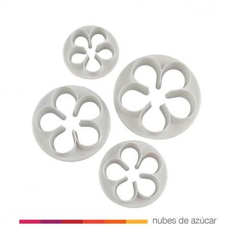 Kit 4 cortadores flor de 5 pétalos