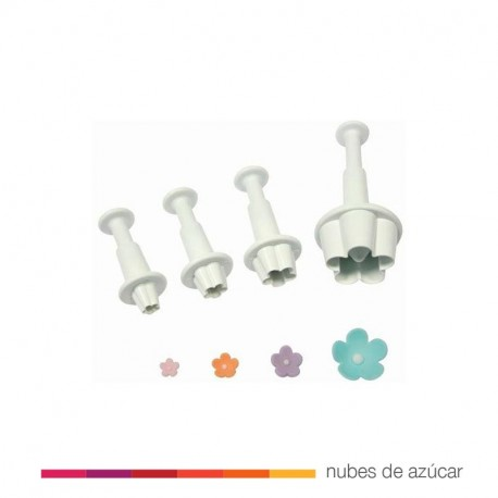 Set de 4 cortadores con expulsor flor (fb550)
