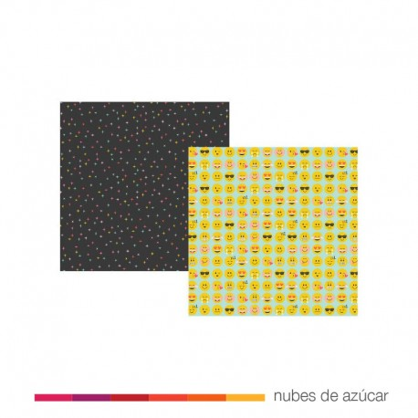 Papel para decorar doble cara Yay emoji love