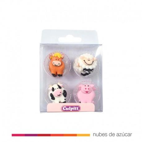 Decoraciones de Azúcar Animalitos de granja 12 un.