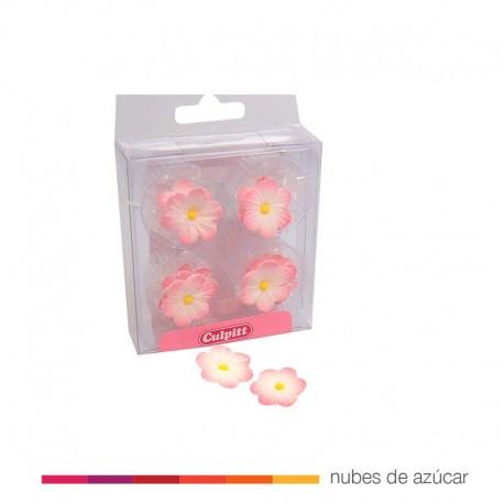 Decoración de Azúcar Flores Rosa. 12 un
