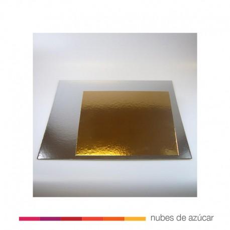 Bases de cartón Plata/Oro Cuadradas 30 cm. 3 un.