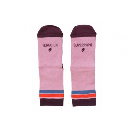 Mini calcetines rosa Tengo un súper papá T.23-26