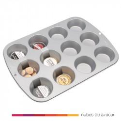 Molde de aluminio para12 cupcakes y muffins
