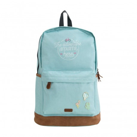 Mochila azul celeste  The adventure is here