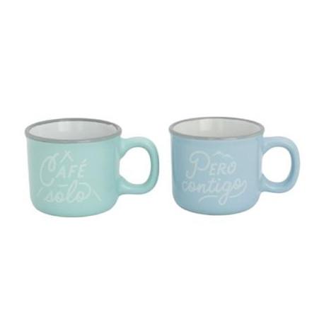 Set de 2 tazas de espresso Café solo, pero contigo