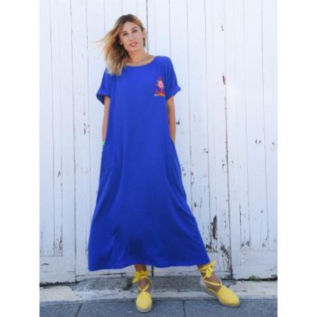Vestido kaftán Alma Marinera Azul T. S/M