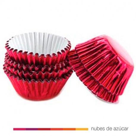 Cápsulas Mini Cupcakes Rojo metalizado 75 uds