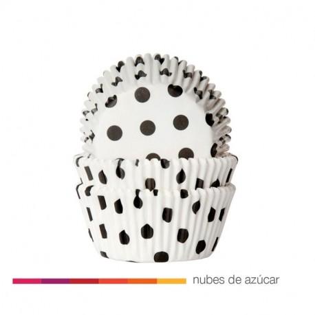 Cápsula para cupcakes blanco con lunares negros