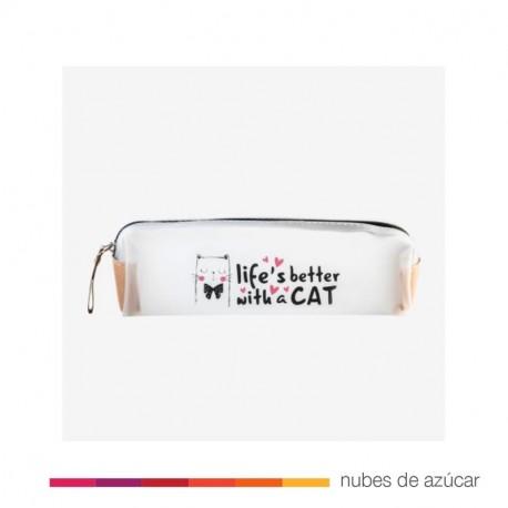 Estuche transparente life's better with a cat