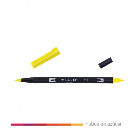 Rotulador doble punta Tombow amarillo 055