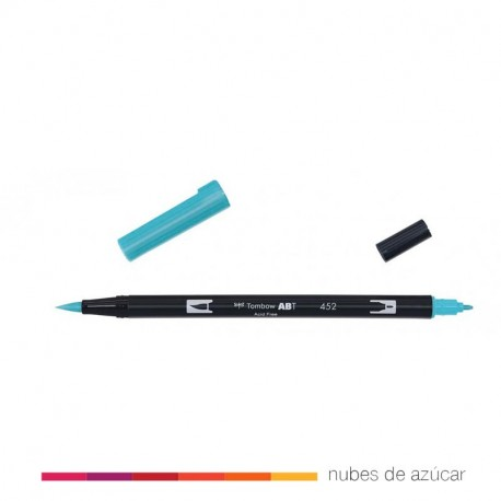 Rotulador doble punta tombow azul 452