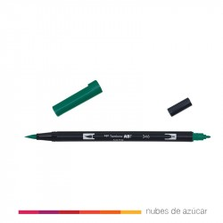 Rotulador doble punta Tombow verde 346
