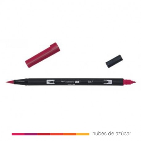 Rotulador doble punta Tombow rojo 847