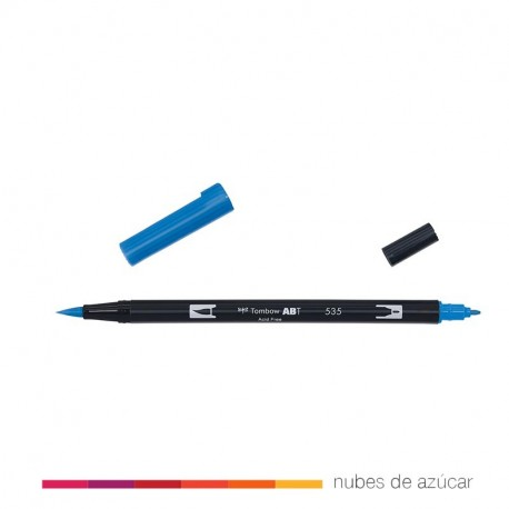 Rotulador doble punta Tombow azul 535