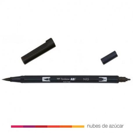 Rotulador doble punta Tombow negro N15