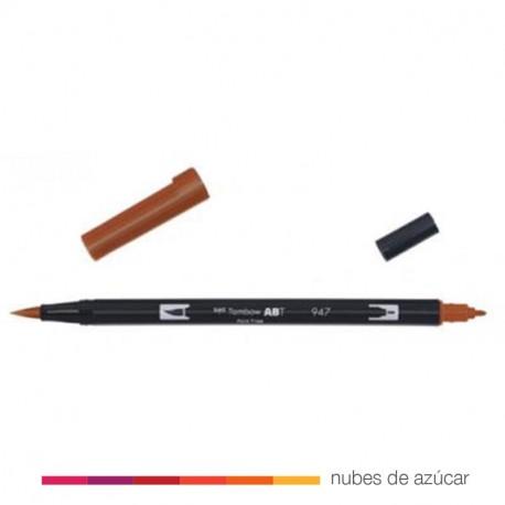 Rotulador doble punta Tombow marrón 947