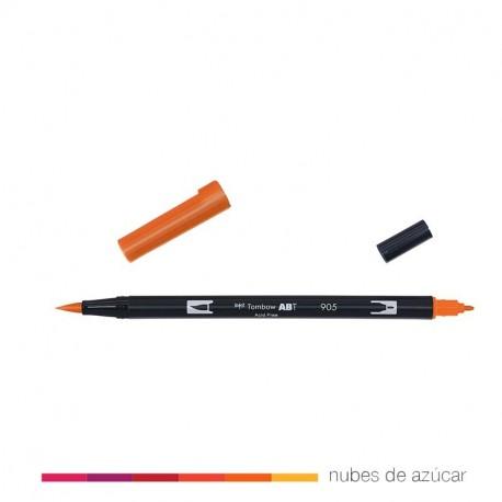 Rotulador doble punta Tombow naranja 905